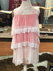 Pink and white lace skirt LARGE