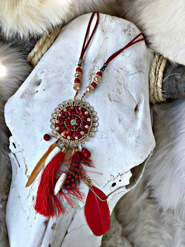 Red feather and saber tooth dream catcher necklace