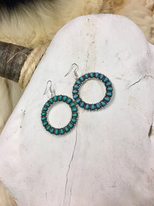 Silver & Turquoise Stone Earrings
