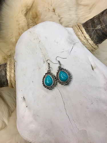 Silver & Turquoise Stone Pendant Earrings