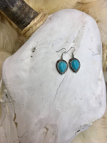 Silver & Turquoise Stone Teardrop Earrings