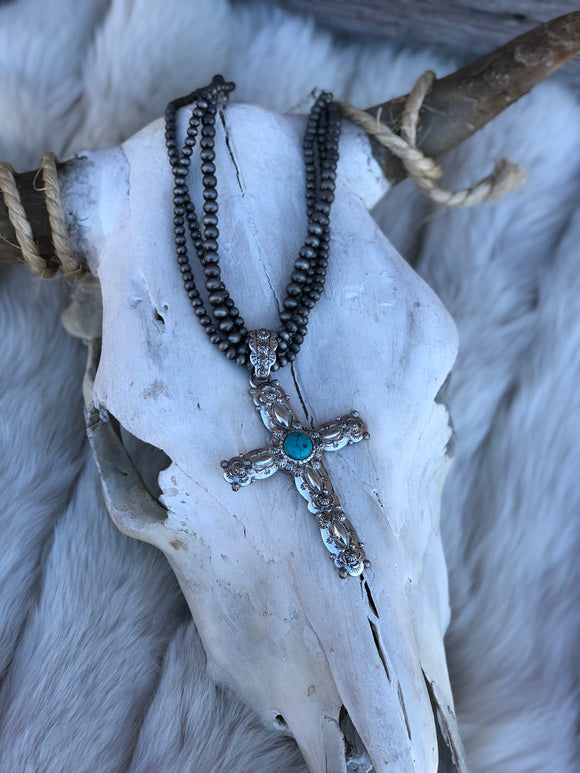 Silver Navajo Pearl Necklace with Turquoise Cross