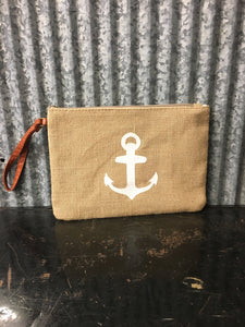 White Anchor Burlap Handbag