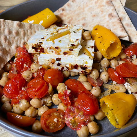 Roasted Feta, Tomatoes, Peppers & Chickpeas