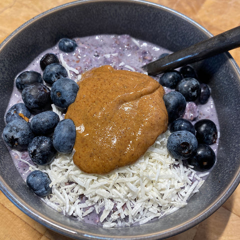 Overnight Protein Oats with Blueberry Milk