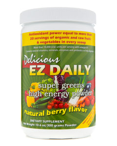 EZ Daily Super Greens Powder-Natural Berry Flavor - EZ Health Solutions