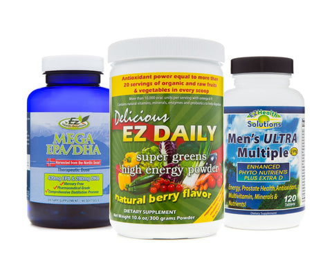 Men's Everyday Essential Supplements: Men's Ulta Multivitamin, Mega EPA/DHA Fish Oil and EZ Daily Greens Powder