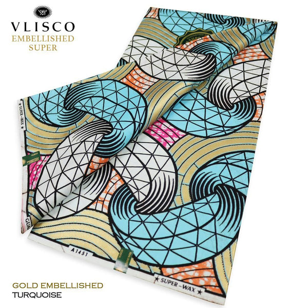 VLISCO EMBELLISHED SUPER WAX - Color Turquoise