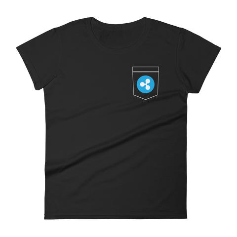 Ripple XRP Pocket Color Deluxe Woman T-Shirt -  - mycryptoneat.com crypto apparel merch