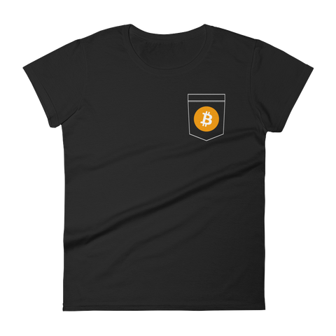 Bitcoin BTC Pocket Color Deluxe Woman T-Shirt -  - mycryptoneat.com crypto apparel merch