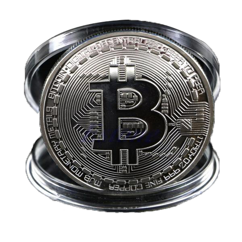Silver Plated Bitcoin BTC Collectible Physical Coin - Coin - mycryptoneat.com crypto apparel merch