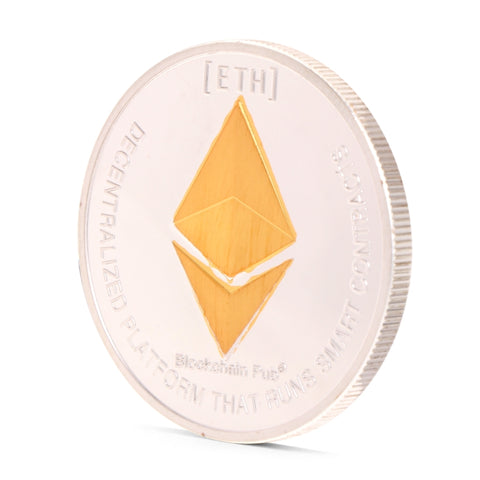 Ethereum Physical Silver Plated Commemorative Challenge Collectible Physical Coin - Coin - mycryptoneat.com crypto apparel merch