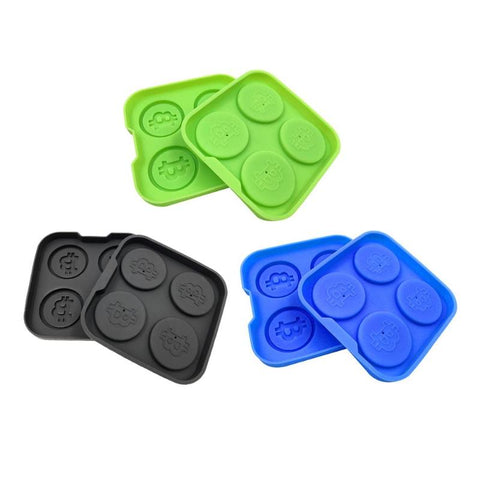 4 Cavities Bitcoin Ice Mold Silicone Ice Tray Mould Ice Cream Maker Ice Mold for Whiskey DIY Baking Cake Cookies Mold