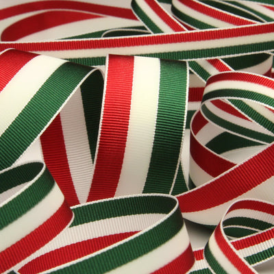FUJIYAMA RIBBON Aurora Reflect Grosgrain Ribbon 9mm 9.14 Meters Roll Red / White / Green