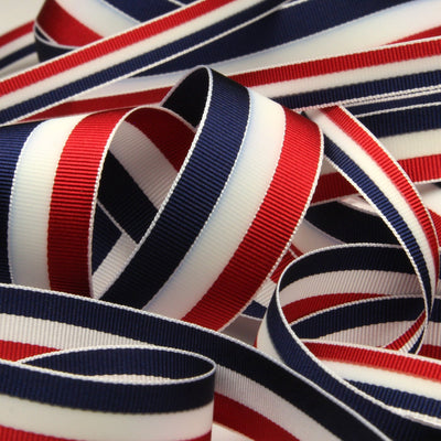 FUJIYAMA RIBBON Aurora Reflect Grosgrain Ribbon 9mm 9.14 Meters Roll Red / White / Navy Blue