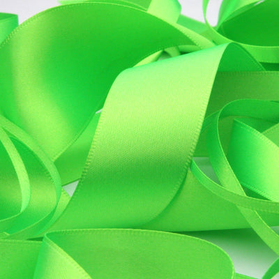 FUJIYAMA RIBBON Polyester Double-Face Satin Ribbon 36mm 9.14 Meters Roll Fluorescence Green