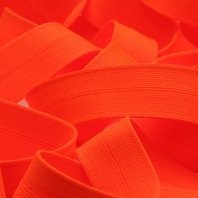 FUJIYAMA RIBBON Polyester Thin Knit Binder Tape 9x9mm 9.14 Meters Roll Fluorescence Orange
