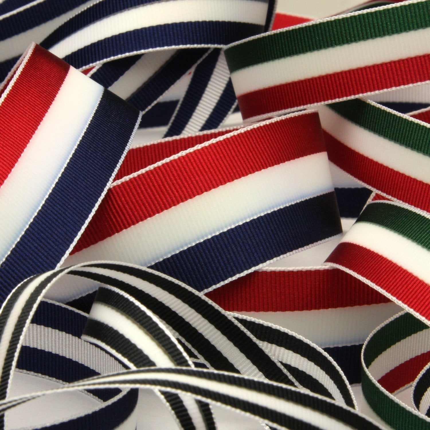 FUJIYAMA RIBBON [Wholesale] Aurora Reflect Grosgrain Ribbon 15mm 30 Meters Roll Navy Blue / White / Navy Blue