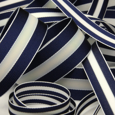 FUJIYAMA RIBBON [Wholesale] Aurora Reflect Grosgrain Ribbon 9mm 30 Meters Roll Navy Blue / White / Navy Blue