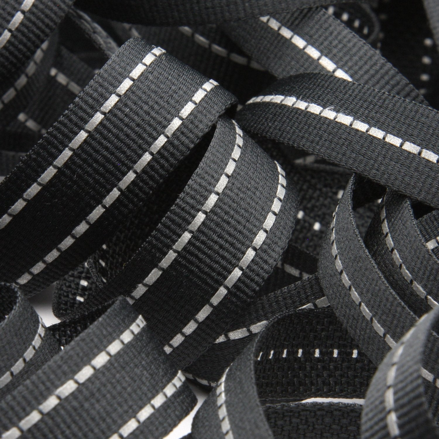 FUJIYAMA RIBBON [Wholesale] Double Stitched Reflect Weave Tape 15mm Black 30 Meters Roll