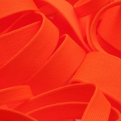 FUJIYAMA RIBBON [Wholesale] Polyester Thin Knit Tape 12mm 30 Meters Roll Fluorescence Orange