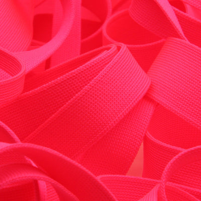 FUJIYAMA RIBBON [Wholesale] Polyester Thin Knit Tape 12mm 30 Meters Roll Fluorescence Pink