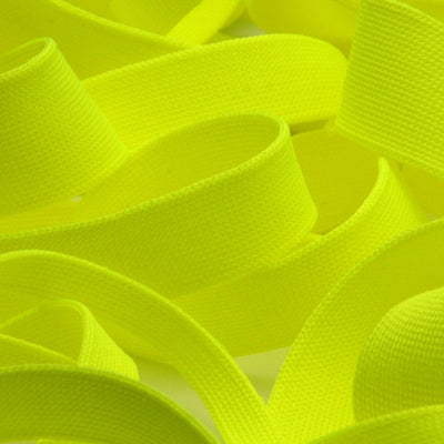 FUJIYAMA RIBBON [Wholesale] Polyester Thin Knit Tape 12mm 30 Meters Roll Fluorescence Yellow