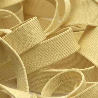 FUJIYAMA RIBBON [Wholesale] Polyester Thin Knit Tape 12mm 30 Meters Roll Light Beige