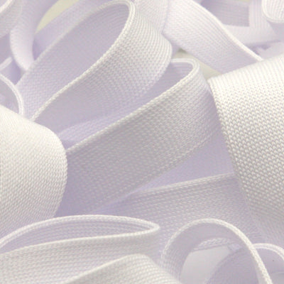 FUJIYAMA RIBBON [Wholesale] Polyester Thin Knit Tape 12mm 30 Meters Roll White