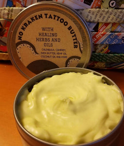 SALE..No More Kraken!! Set of 4 Oatmeal and Honey Goats Milk Soap and 1 tin of No Kraken Tattoo Butter - Sisters Soap Kitchen