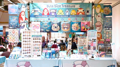 Byte Size Treasure table setup at Kogaracon in NJ