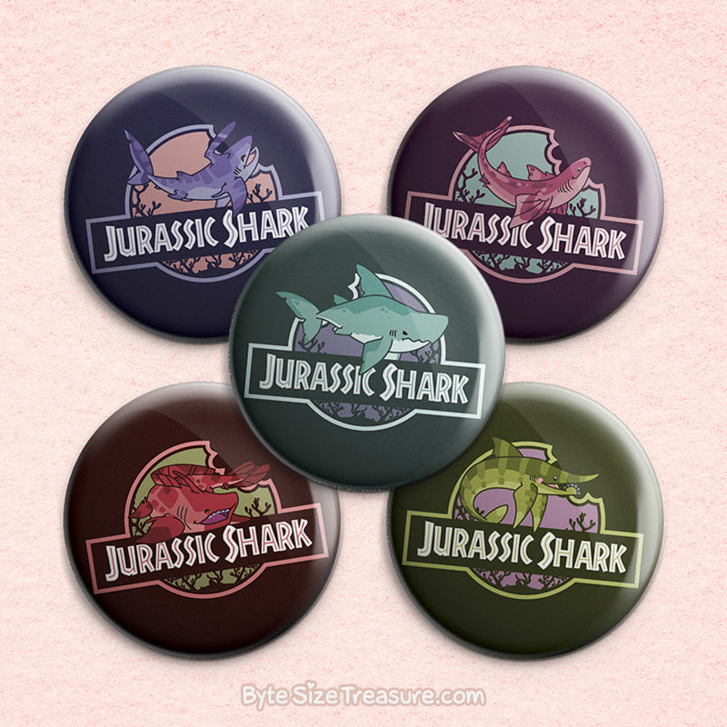 Jurassic Shark 2 \\ 3in Buttons & Magnets