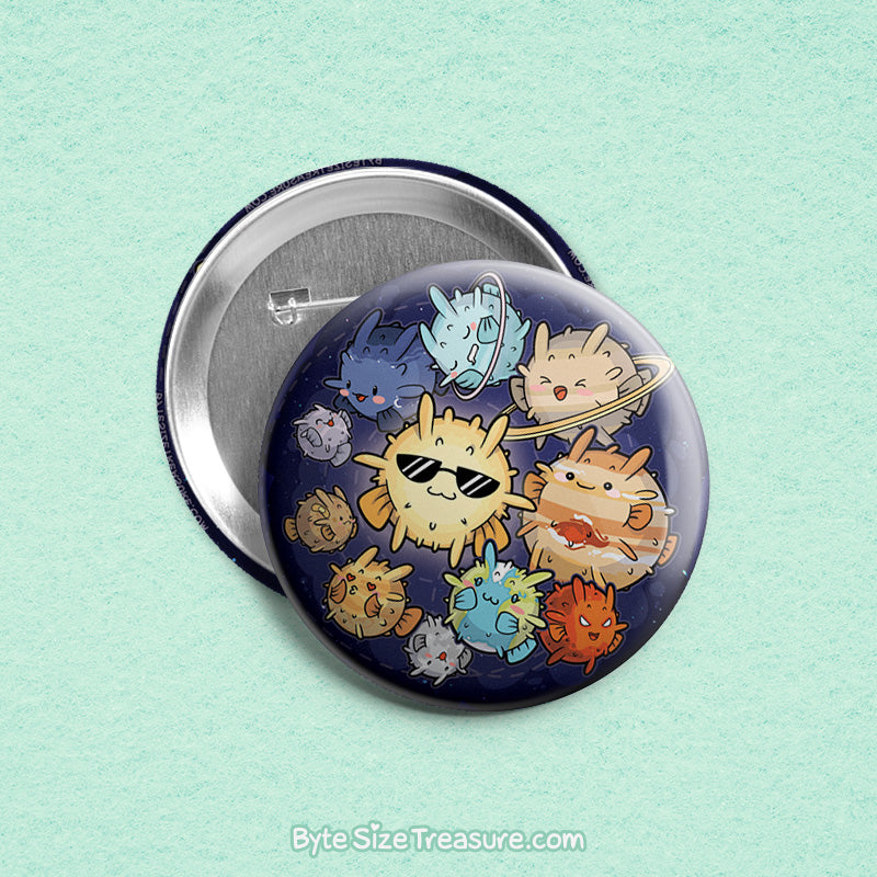 Planetary Blowfish \\ 3in Buttons & Magnets