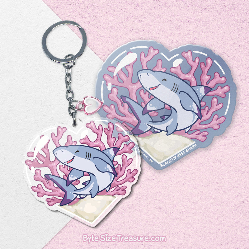 Blacktip Reef Shark \\ Vinyl Sticker, Acrylic Keychain