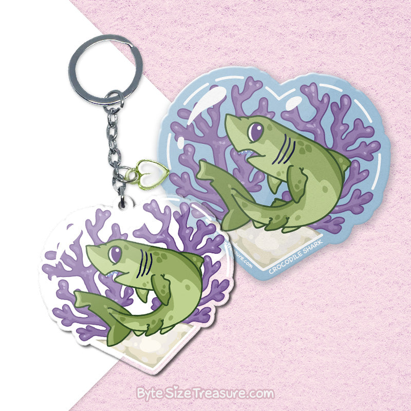 Crocodile Shark \\ Vinyl Sticker, Acrylic Keychain