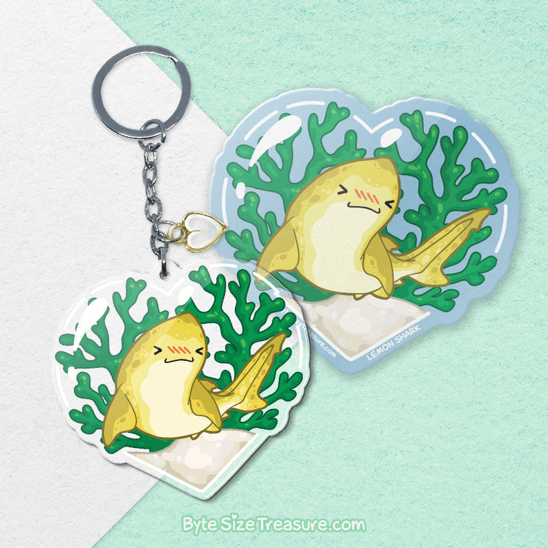 Lemon Shark \\ Vinyl Sticker, Acrylic Keychain