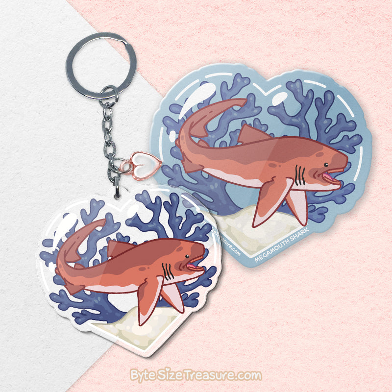 Megamouth Shark \\ Vinyl Sticker, Acrylic Keychain