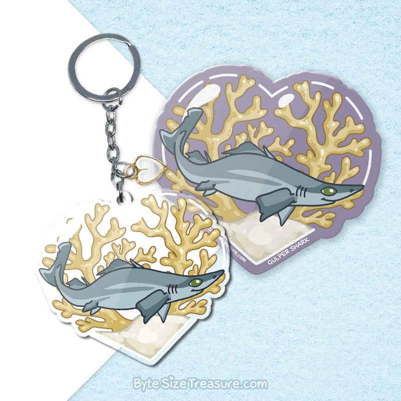 Gulper Shark \\ Vinyl Sticker, Acrylic Keychain