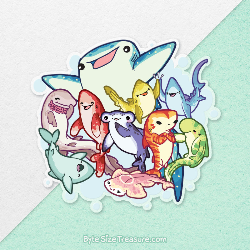 Shark Friends \\ Large Clear Vinyl Sticker