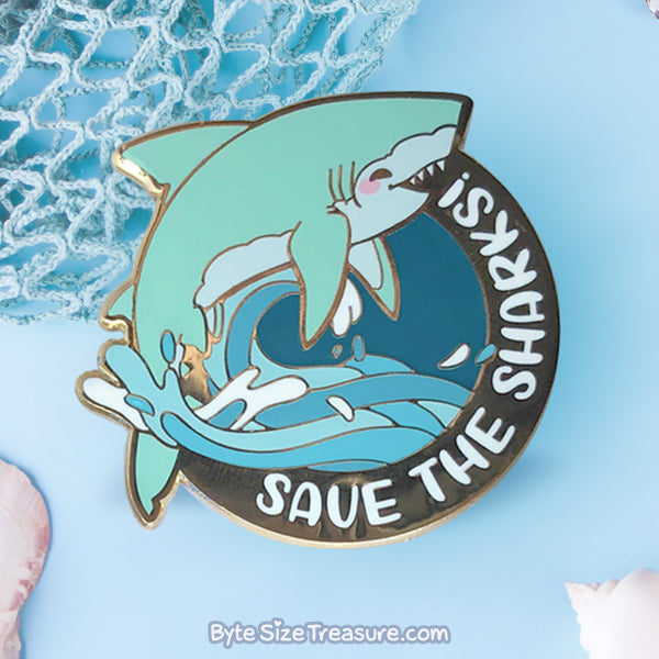 Save the Great White Sharks!  Enamel Pin