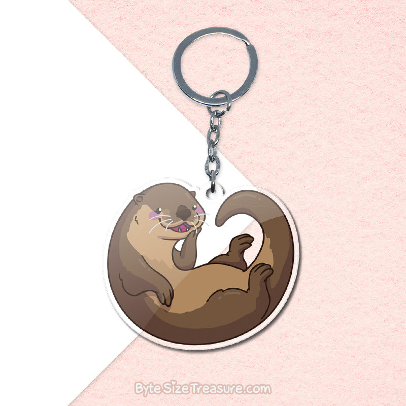 Small Clawed Otter \\ Acrylic Keychain