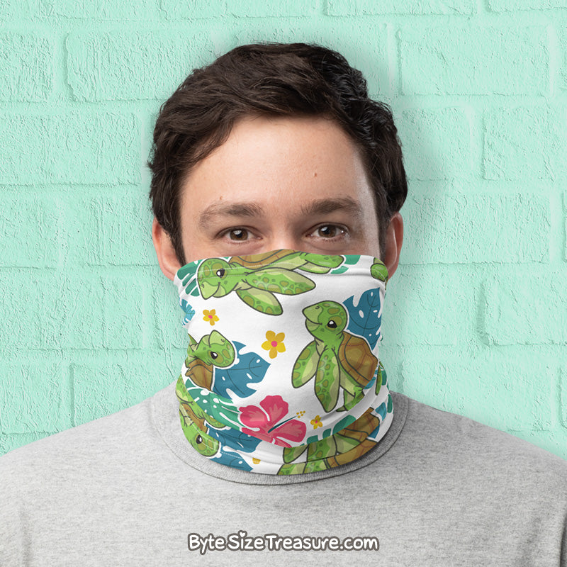 Sea Turtle Pattern \\ Face Shield, Neck Gaiter