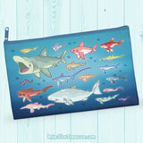 Shark Species Lineup \\ Zipper Pouch