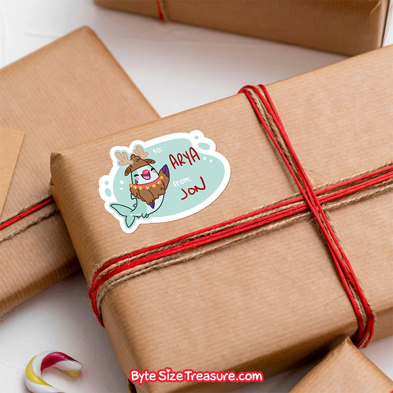 Holiday Shark Gift Tags \\ Sticker Sheet