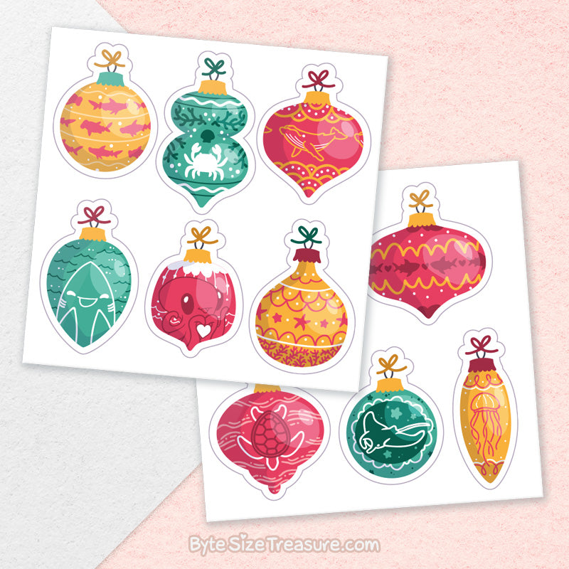 Marine Life Holiday Ornaments \\ Sticker Sheet