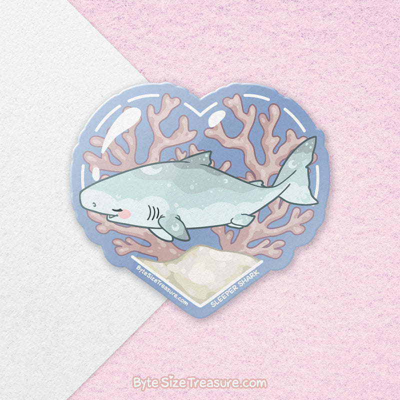 Sleeper Shark \\ Vinyl Sticker, Acrylic Keychain