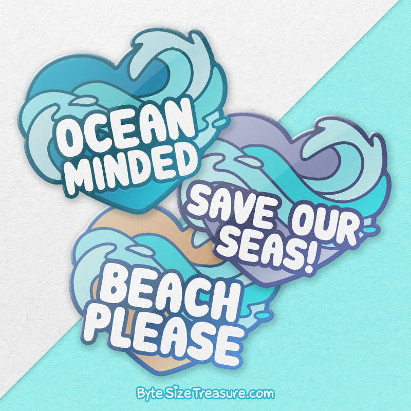 Foil Heart Ocean Stickers \\ Holographic Sticker