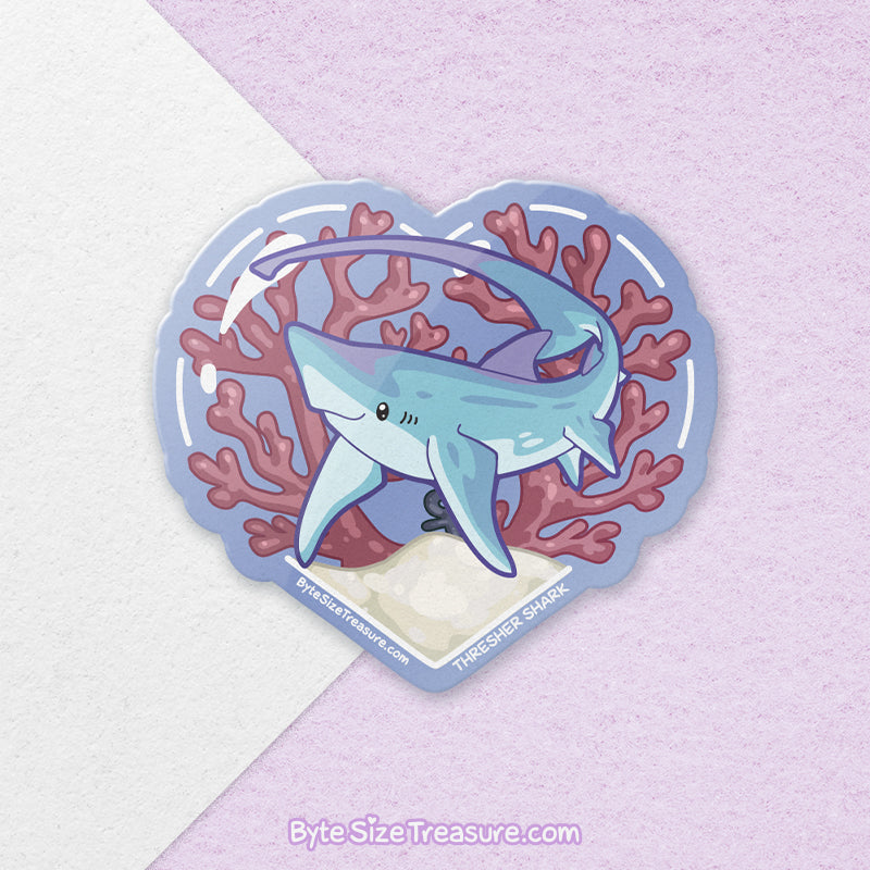 Thresher Shark \\ Vinyl Sticker, Acrylic Keychain