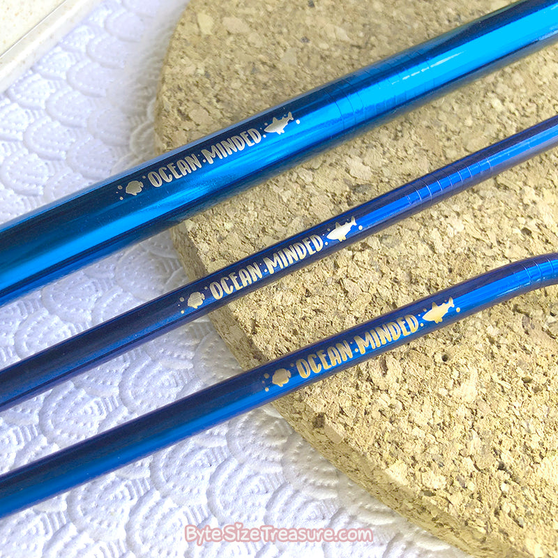 Ocean Minded \\ Blue Stainless Steel Straw Set