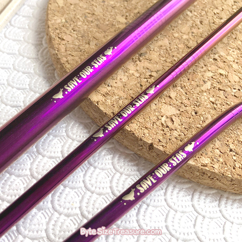 Save Our Seas \\ Purple Stainless Steel Straw Set